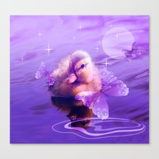 Baby Duck And Butterflies By Annie Zeno Canvas Print