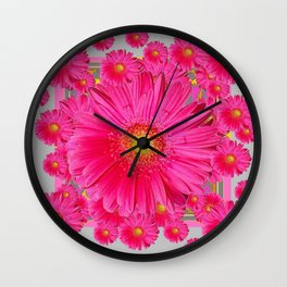 Pink Gerbera Flowers Grey Patterns Art #2 Wall Clock