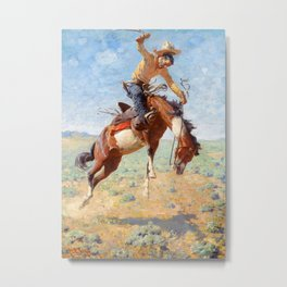 "Western Art ""Wild Bucker"" Metal Print"