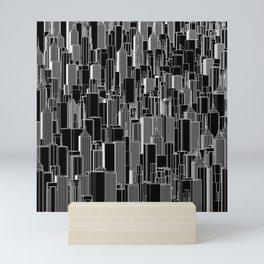 Tall city B&W inverted / Lineart city pattern Mini Art Print