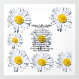 Daisy Flower with Christian Faith Base Poem Art Print