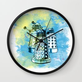 Dalek inspired mixed media watercolor Wall Clock