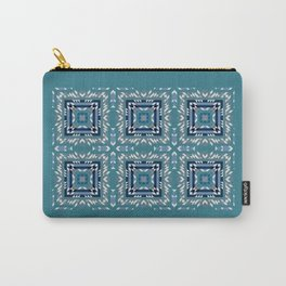 FROZEN teal background, navy blocks, white shards of ice abstract Carry-All Pouch