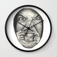 fear Wall Clocks featuring Fear by Magdalena Almero