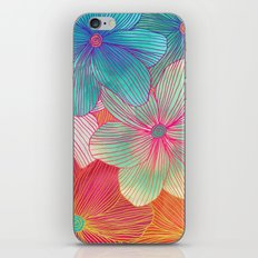 Between the Lines - tropical flowers in pink, orange, blue & mint iPhone Skin
