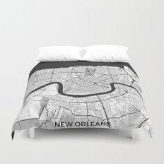 New Orleans Map Gray Duvet Cover