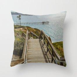 Ocean Artwork - Stairwell to the pier Throw Pillow