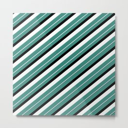 Team Colors 1...teal,black white Metal Print
