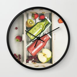Green and red fresh juices or smoothies Wall Clock