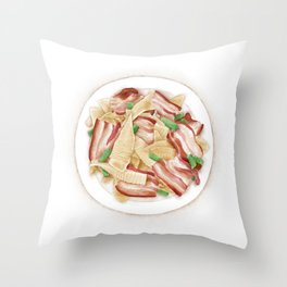 Watercolor Illustration of Chinese Cuisine - Stir-fried bacon with winter bamboo shoots | 冬笋炒腊肉 Throw Pillow