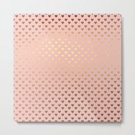 Gold and pink sparkling and shiny Hearts pattern Metal Print