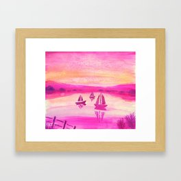 Unique Pink and Yellow Sunset Watercolor Scene Framed Art Print