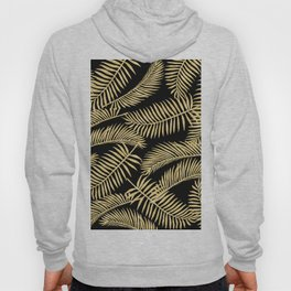 Palm Leaf Pattern Gold And Black Hoody
