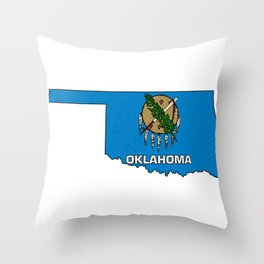 Oklahoma Map with State Flag Throw Pillow