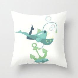 Flipped Mermaid - Ocean Blues - v1 Throw Pillow