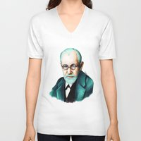 freud V-neck T-shirts featuring SIGMUND FREUD by Coco Dávez