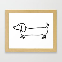 Simple dachshund black drawing Framed Art Print