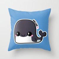 killer whale Throw Pillows featuring Kawaii Killer Whale by Katie White