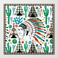 headdress Canvas Prints featuring Headdress by Vannina