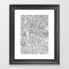 TWO BEAST BOTS TRASHING CANDY TOWN Framed Art Print