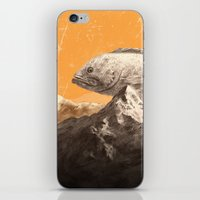 bass iPhone & iPod Skins featuring Mountain Bass by Sam Rowe Illustration