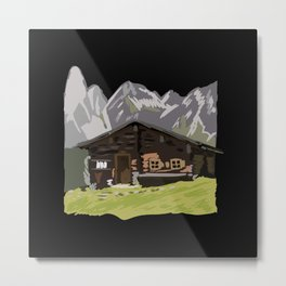 Mountain Hut or Alpine Hut in Mountains Metal Print