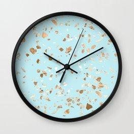 Blue Gold Modern Terrazzo Wall Clock
