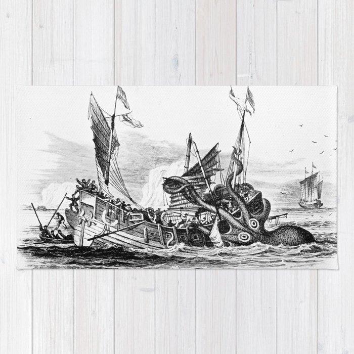 Pirate Rug Next: 1810 Vintage Nautical Octopus Steampunk Kraken Sea Monster