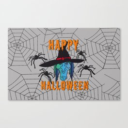 turquoise Witch Happy Halloween Canvas Print