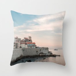 French Riviera Coast | Europe France Antibes City Sunset Landscape Photography Throw Pillow