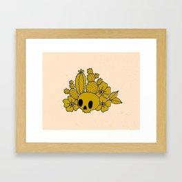 Skull and Cactus Framed Art Print