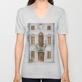 WHITE CONCRETE BUILDING WITH WOODEN DOORS AND WINDOWS Unisex V-Neck