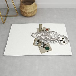 Card with an owl, scrolls and letters on a white background. The owl postal service. Rug