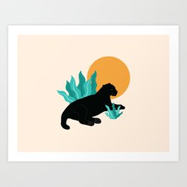 Sunday chillout with a black panther Art Print