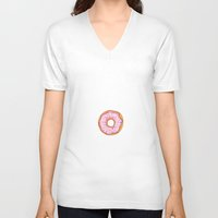donut V-neck T-shirts featuring Donut by Ceren Aksu Dikenci