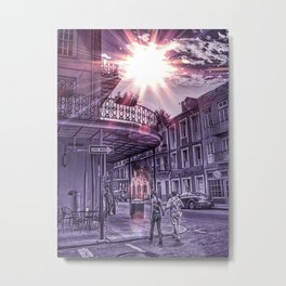 Monochromatic Purple Urban New Orleans Iconic Street Architecture with Sunny Cloudy Sky and Two Humans Expressing Nola Love Metal Print