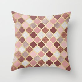 Warm rose gold moroccan Throw Pillow
