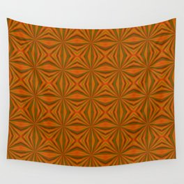Autumnal Leaves Red Green and Amber Pattern Wall Tapestry