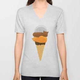 Cat Cream Cone Unisex V-Neck