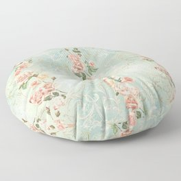 seamless, pattern, with delicate roses and monograms, shabby chic, retro. Floor Pillow