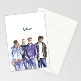 Watercolor painted music band Blur Stationery Cards