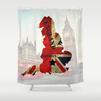 england Shower Curtains featuring ENGLAND by mark ashkenazi
