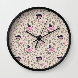 Cats and flowers on beige background Wall Clock