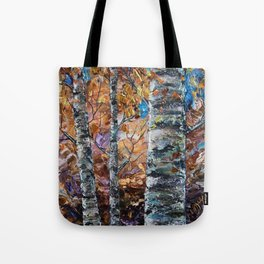 Birch Trees with Palette Knife by OLena Art for @society6 Tote Bag