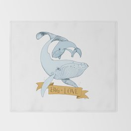 Big Love (gold and blue) Humpback Whales Throw Blanket