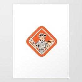 Bricklayer Mason Plasterer Standing Shield Cartoon Art Print