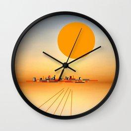 Horizon Sunset Orange Blue Wall Clock
