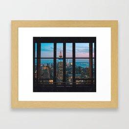 New York City Skyline at Night Window View Framed Art Print
