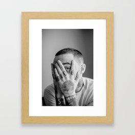 Mac Miller Black And White Portrait Framed Art Print