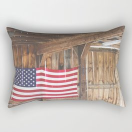 Rural American Flag in a Traditional Rustic Barn Rectangular Pillow